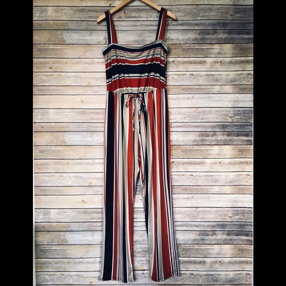 6a007a54135 Caution To The Wind Pants - NWOT! Navy   Dark Orange Striped Jumpsuit